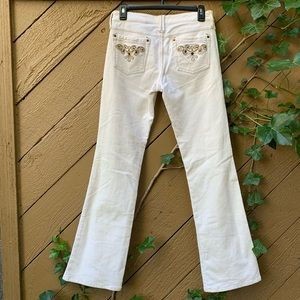 No Boundaries Boho Hippy Corduroy Cream Flares 7